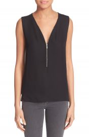 The Kooples Mixed Media Front Zip Tank at Nordstrom