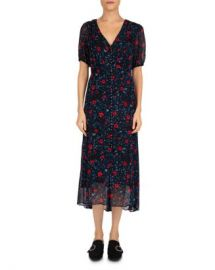 The Kooples Poison Roses Front-Button Midi Dress Women - Bloomingdale s at Bloomingdales