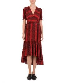 The Kooples Red Hot Snake-Print Midi Dress Women - Bloomingdale s at Bloomingdales