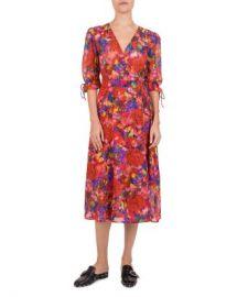 The Kooples Summer Night Floral-Print Silk Wrap Dress Women - Bloomingdale s at Bloomingdales