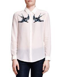 The Kooples Swallow-Print Silk Shirt at Bloomingdales
