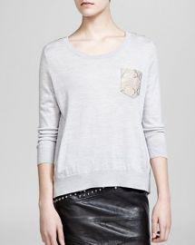 The Kooples Sweater - Wool andamp Leather Pocket at Bloomingdales