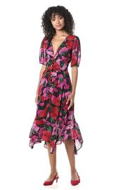 The Kooples Women\'s  Midi Black Summer Silk Dress in a Floral Print at Amazon