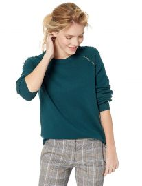 The Kooples Women s Knitted Crew Neck Sweater with Silver Pierced Details at Amazon