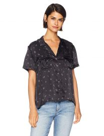The Kooples Women s Women s Floral Print Button Down Blouse with Open Collar at Amazon