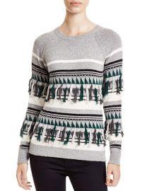 The Lane Fair Isle Fringed Crewneck Sweater at Bloomingdales