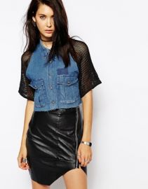 The Ragged Priest Reworked Vintage Cropped Denim Shirt With Mesh Shoulders at Asos