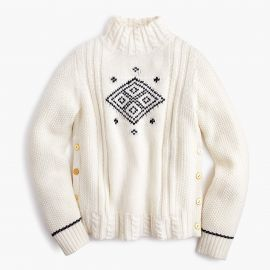 The Reeds X J Crew side button swing sweater at J. Crew