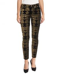 The Skinny Ankle Brocade Velvet Jeans at Neiman Marcus
