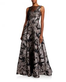 Theia Metallic Brocade Sleeveless Asymmetric Bodice Gown at Neiman Marcus