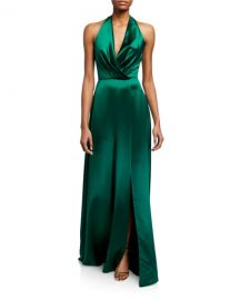 Theia Plunge Front Heavy Charmeuse Satin Halter Gown at Neiman Marcus
