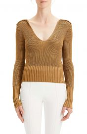 Theory Back Collar Ribbed Plunge Neck Sweater at Nordstrom