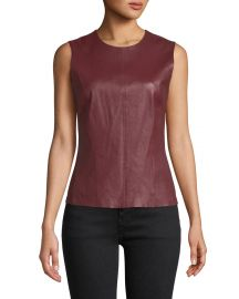 Theory Bristol Leather Modern Seamed C  Combo Shell at Neiman Marcus