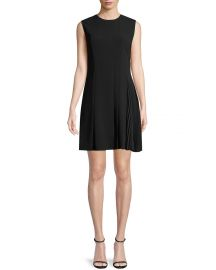Theory Crewneck A-Line Admiral Crepe Pleated Day Dress at Neiman Marcus