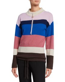 Theory Striped Mock-Neck Cashmere Pullover Sweater at Neiman Marcus