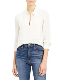 Theory Yoked Popover Silk Blouse at Neiman Marcus
