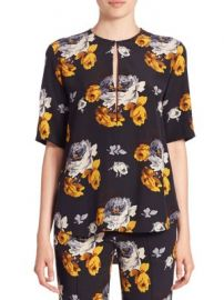 Theory - Antazie Silk Floral-Print Top at Saks Fifth Avenue