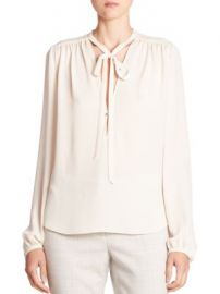 Theory - Bernetta Silk Tie-Neck Top at Saks Fifth Avenue