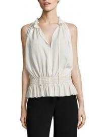 Theory - Dezzie Smocked Silk Georgette Blouse at Saks Fifth Avenue