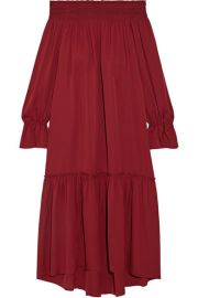 Theory   Off-the-shoulder smocked silk-jersey midi dress at Net A Porter
