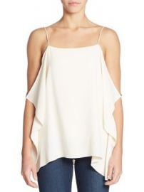 Theory - Petteri Draped Cold-Shoulder Crepe Top at Saks Fifth Avenue