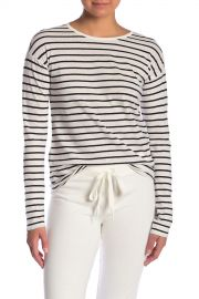 Theory   Relaxed Crew Neck Striped Linen Blend Tee   Nordstrom Rack at Nordstrom Rack