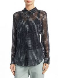 Theory - Sunaya Silk Button-Down Top at Saks Fifth Avenue
