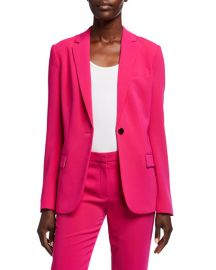 Theory Admiral Crepe One-Button Staple Blazer at Neiman Marcus