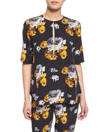 Theory Antazie Distressed Floral-Print Silk Top at Neiman Marcus