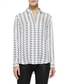 Theory Aquilina B Silk Button-Front Blouse Black-White at Neiman Marcus