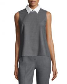 Theory Audressa Cavalry Twill Top with Detachable Collar at Neiman Marcus