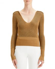 Theory Back-Collar Long-Sleeve Roving Cropped Sweater at Neiman Marcus