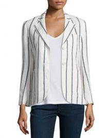 Theory Brightdale Wide-Stripe Wool Blazer WhiteBlue at Neiman Marcus