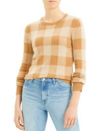 Theory Cashmere Plaid Crewneck Sweater Women - Bloomingdale s at Bloomingdales