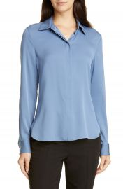 Theory Classic Fitted Stretch Silk Shirt   Nordstrom at Nordstrom