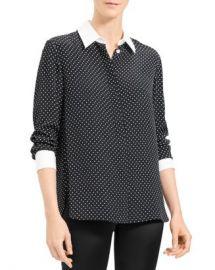 Theory Crepe Polka Dot Shirt Women - Bloomingdale s at Bloomingdales