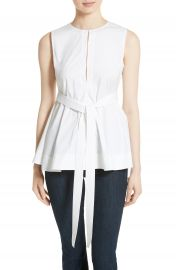 Theory Desza Belted Stretch Cotton Top at Nordstrom