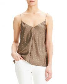 Theory Dot Overlay V-Neck Silk Camisole at Neiman Marcus