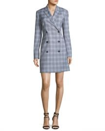 Theory Double-Breasted Maple Check Blazer Dress at Neiman Marcus