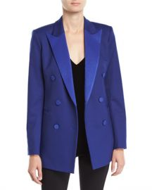 Theory Double-Breasted Wool Tuxedo Blazer at Neiman Marcus