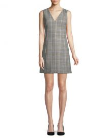 Theory Easy V-Neck Plaid Shift Dress at Neiman Marcus