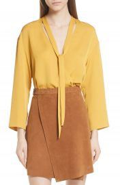 Theory Faux Wrap Silk Blouse at Nordstrom