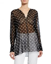 Theory Fluid Dot-Print Silk Tunic at Neiman Marcus