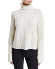 Theory Horseshoe Cable Turtleneck Bell-Sleeve Sweater at Neiman Marcus