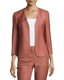 Theory Lindrayia B Continuous Open-Front 3 4-Sleeve Blazer Deep Rose at Neiman Marcus