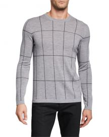 Theory Men  x27 s Malio Milos Grid Check Sweater at Neiman Marcus