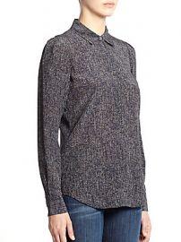 Theory Milka Tweed Print Silk Blouse at Saks Off 5th