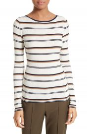 Theory Mirzi M Stripe Merino Wool Sweater at Nordstrom