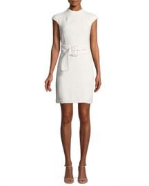 Theory Mod Belted Spring Boucle Dress at Neiman Marcus