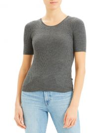 Theory Moving Rib Regal Wool Tee at Neiman Marcus
